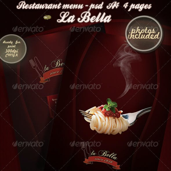 La Bella - Restaurant Menu - Photos Included
