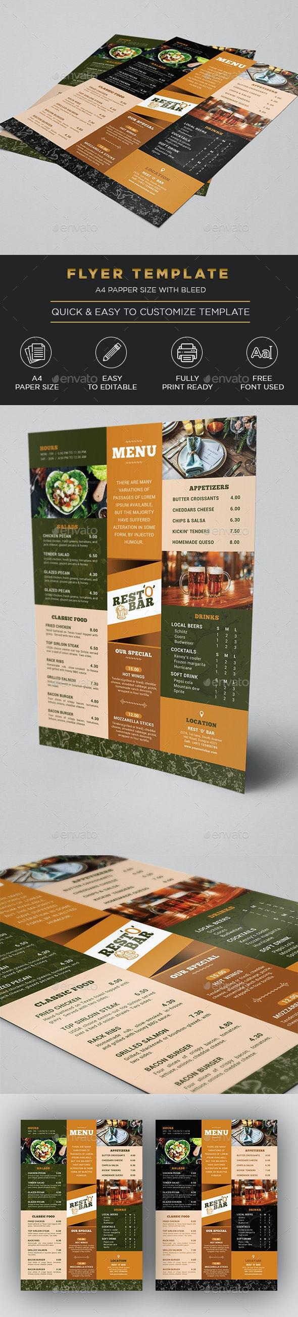 Pub and Bar Menu / Flyer - Restaurant Flyers