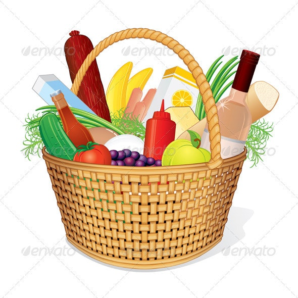 Picnic Hamper with Food - Food Objects