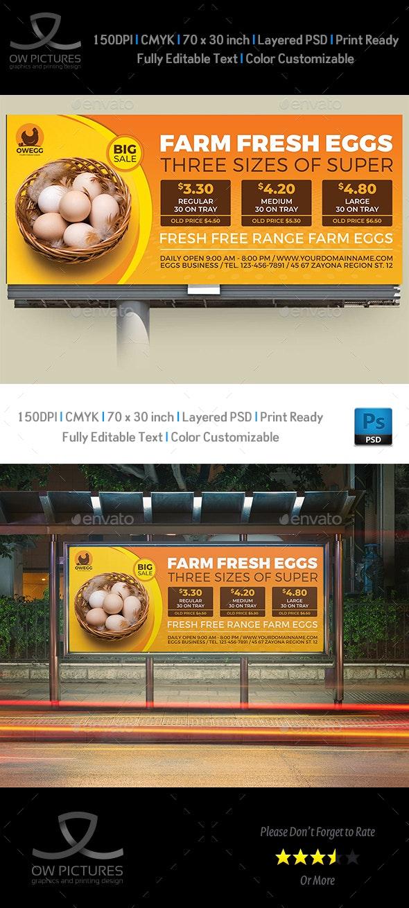 Farm Fresh Eggs Billboard Template - Signage Print Templates