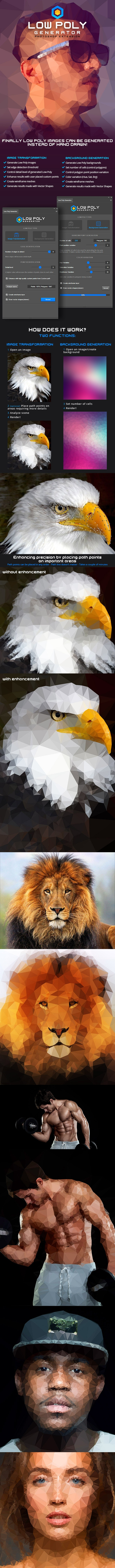 Low Poly Generator - Photoshop Extension - Photo Effects Actions