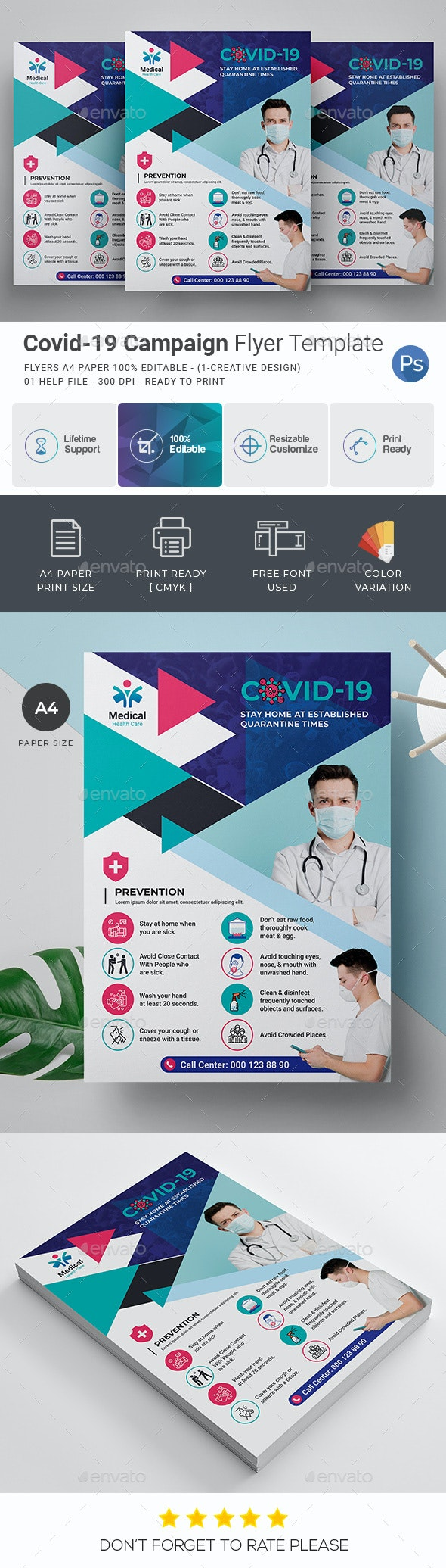 Covid-19 Campaign Flyer Template - Corporate Flyers