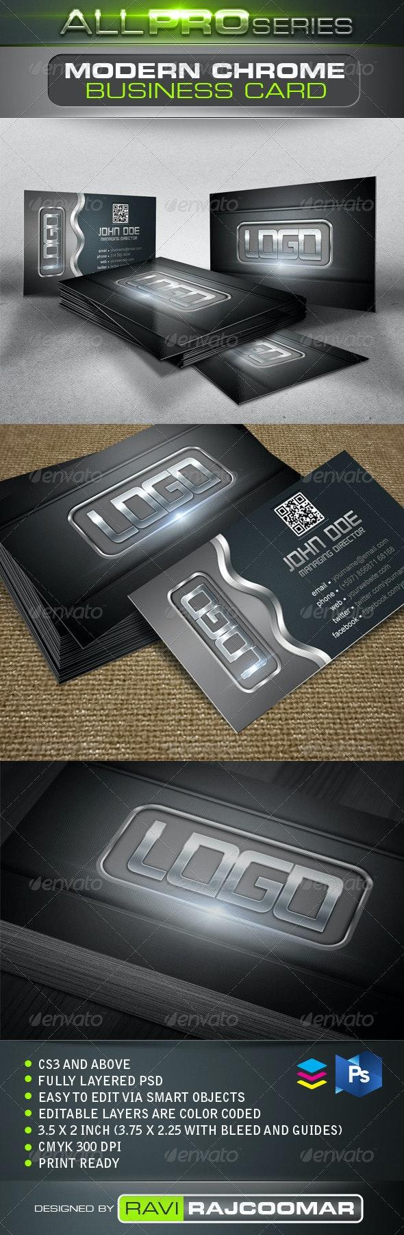 Modern Chrome Business Card - Business Cards Print Templates