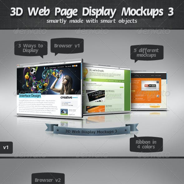 3D Web Page Display Mockups 3