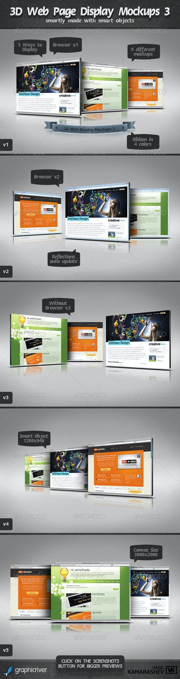 3D Web Page Display Mockups 3 - Website Displays