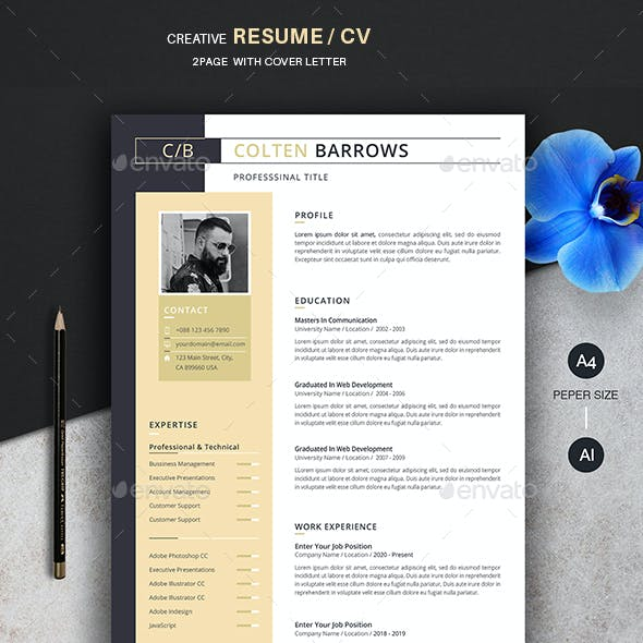 Creative Resume/CV (2 Page) + Cover Letter