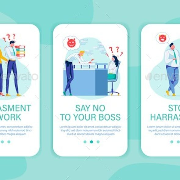 Three Banners Set Against Harassment, Copy Space