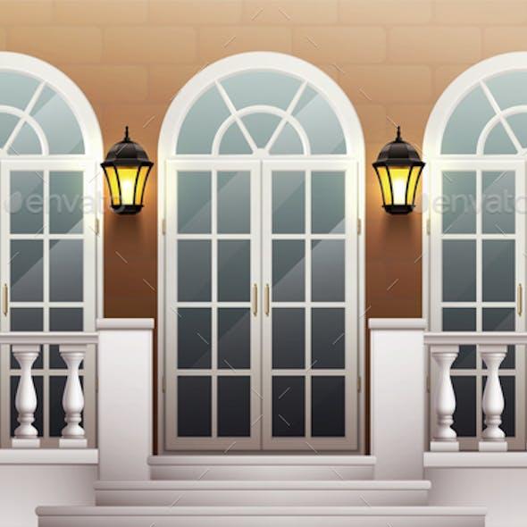 Palace Facade With Porch And Balustrade
