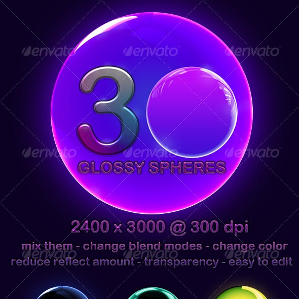30 High Res Glossy Spheres