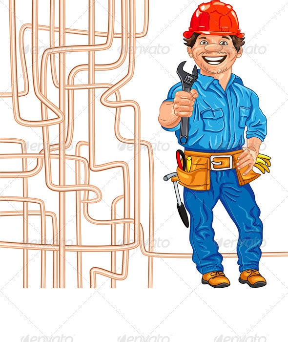 Vector Cheerful Locksmith Plumber in the Red Helme - People Characters