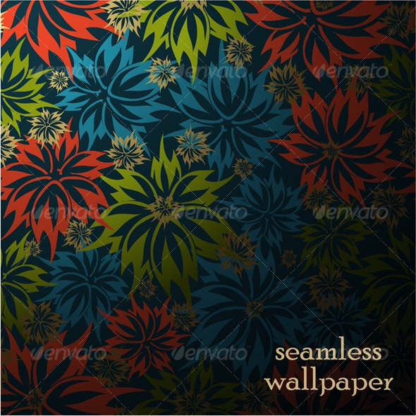 vector seamless floral background - Backgrounds Decorative