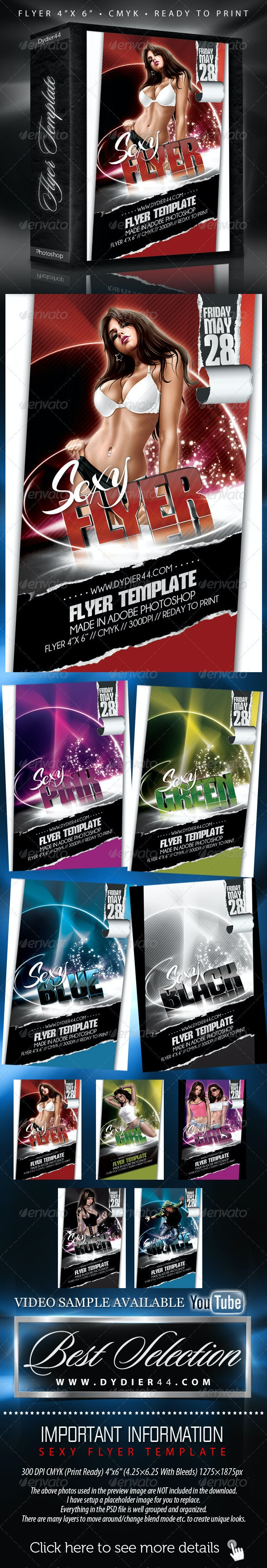 """Sexy Flyer Template (Flyer Template 4""""x 6"""" ) - Clubs & Parties Events"""