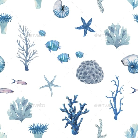 Beautiful Vector Seamless Pattern with Underwater