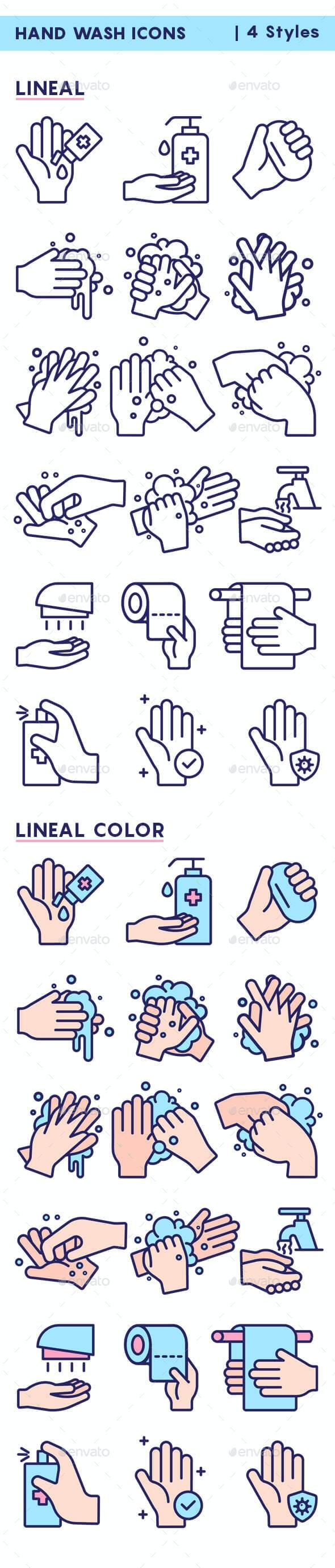 Hand Wash Icons - Illustrations Graphics