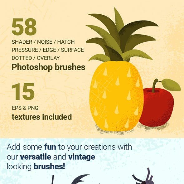 58 Shader Noise Pressure Hatch Dotted Photoshop Brushes