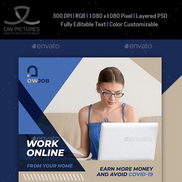 Work Online - Work from Home Social Media Template