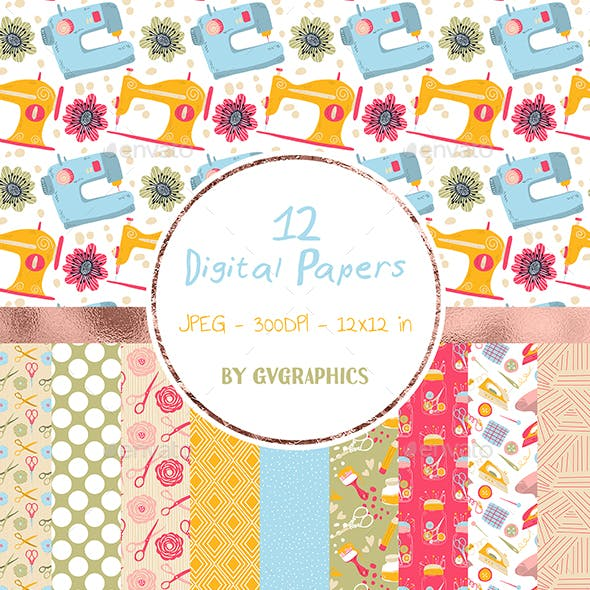 12 Sewing machines, tools and flowers Digital Papers in green, blue and pink