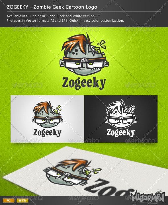 ZOGEEKY - Zombie Geek Cartoon Logo - Humans Logo Templates