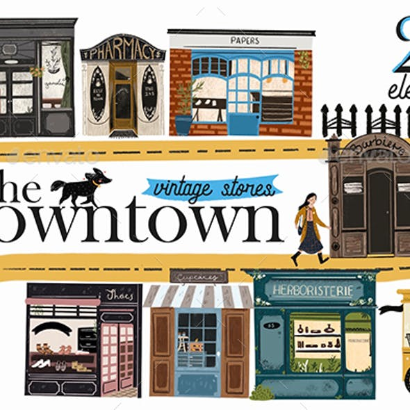 The Downtown vintage stores clip art
