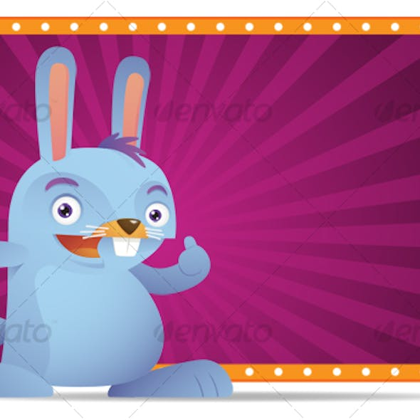 Blue Rabbit with thumb up