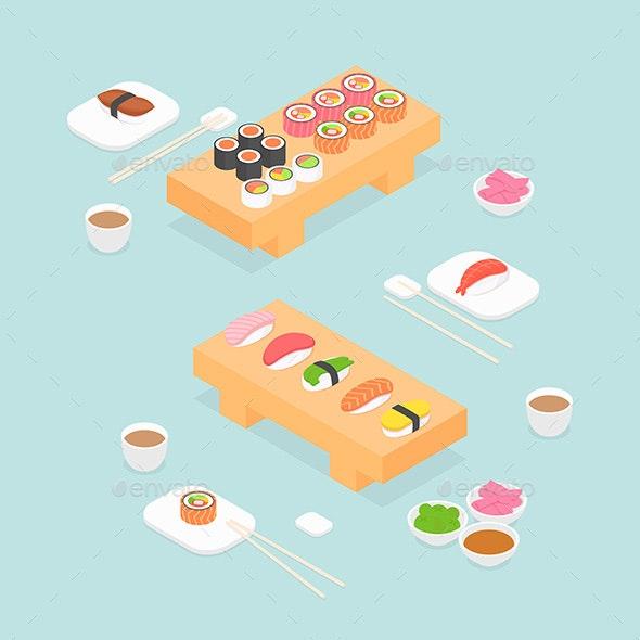 Isometric Sushi Set - Food Objects