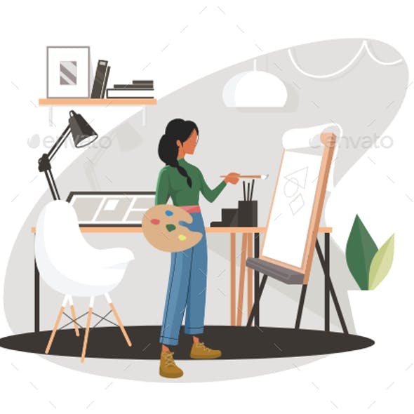 Woman Painting in Creative Studio