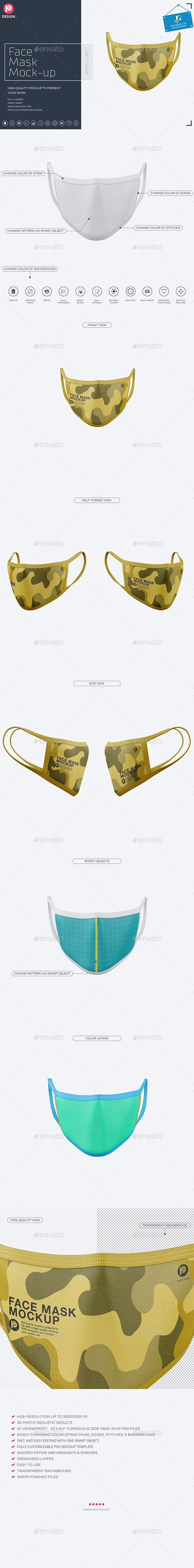 Face Mask Mockup - Miscellaneous Product Mock-Ups