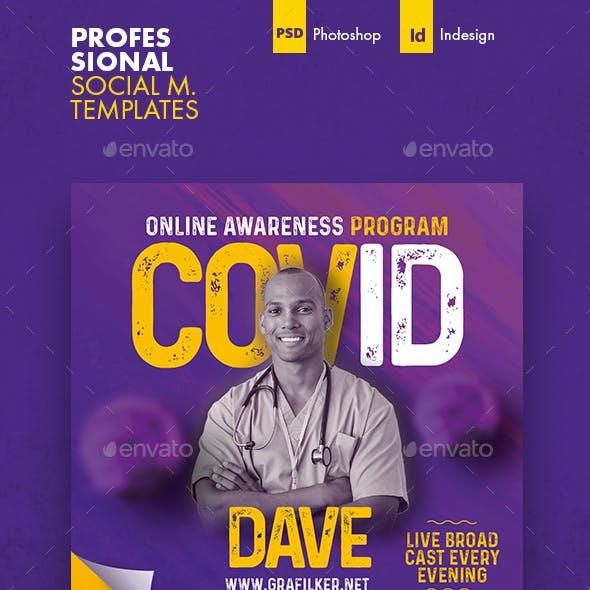 Covid Coranavirüs Social Media Templates