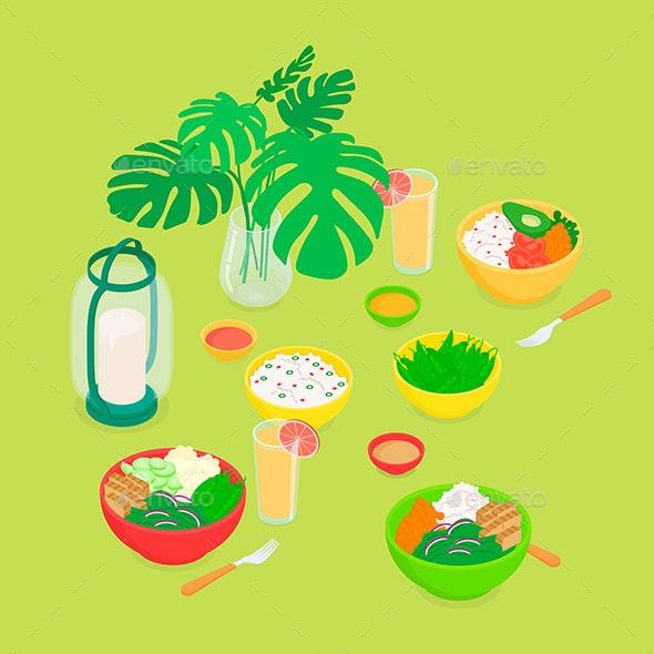 Isometric Vegan Dinner Set - Food Objects