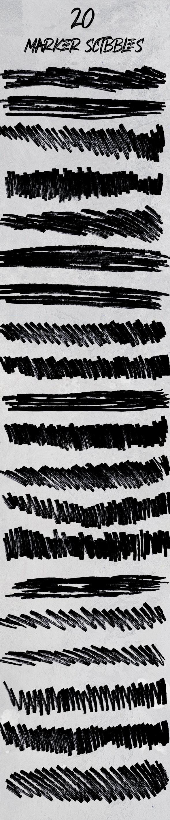 20 Maker Scribbles - Artistic Brushes