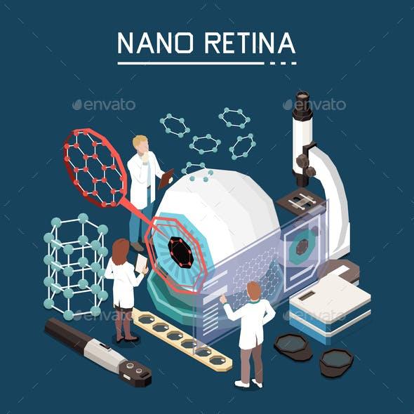 Nanotechnology Retina Isometric Composition