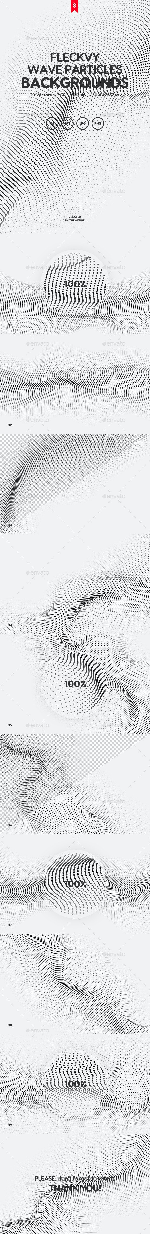 Fleckvy - Abstract Futuristic Wave Particles on White Background - Tech / Futuristic Backgrounds