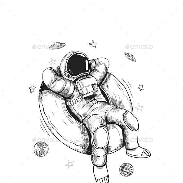 Astronaut Graphic Image With Black And White Style