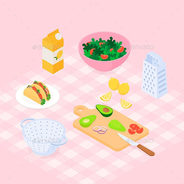 Isometric Salad Set with Tacos - Food Objects