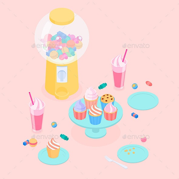 Isometric Candy Store Set - Food Objects