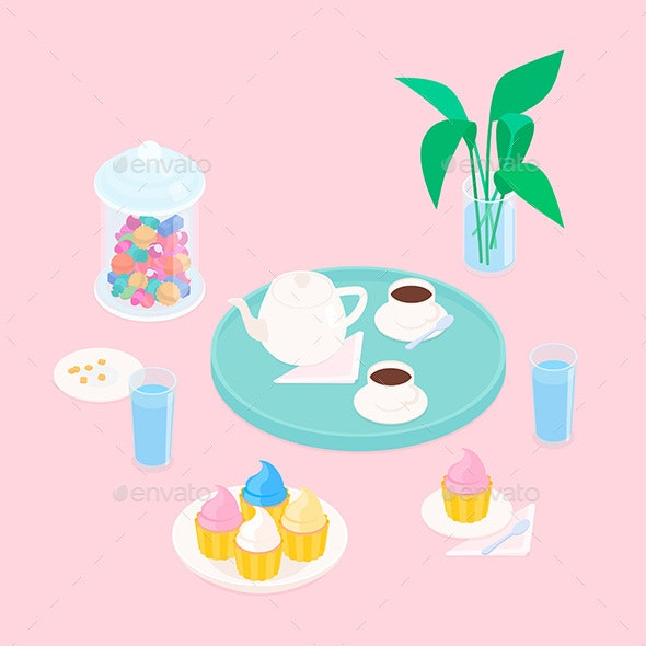 Isometric Coffee Set with Cupcakes and Candy - Food Objects