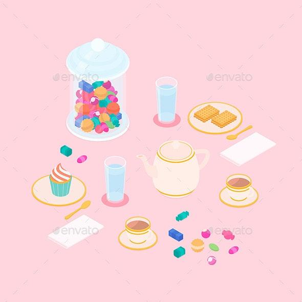 Isometric Tea and Dessert Set - Food Objects