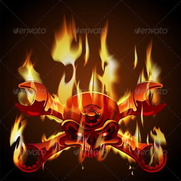 Vector Metal Jolly Roger in Flame