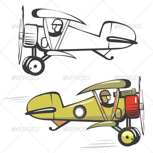 Cartoon Biplane