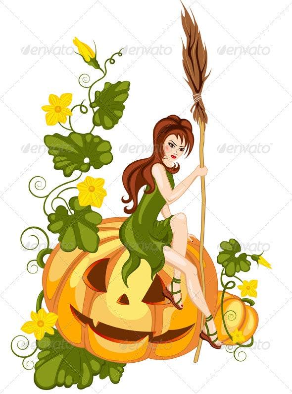 Girl and Halloween Pumpkin - Halloween Seasons/Holidays