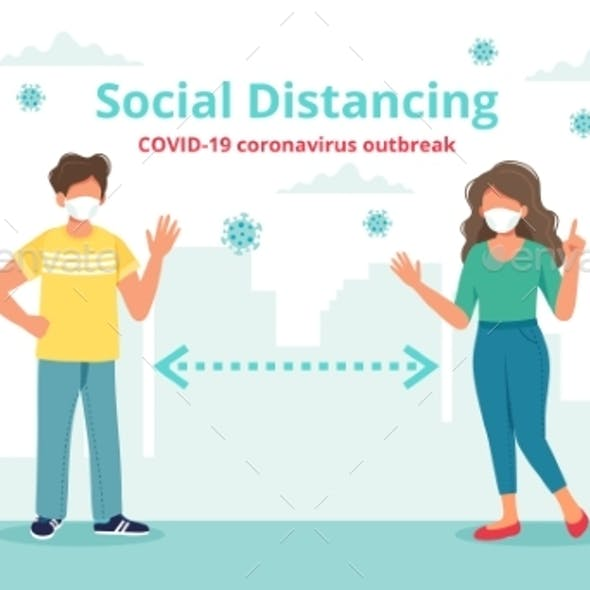 Social Distancing Concept with Two People