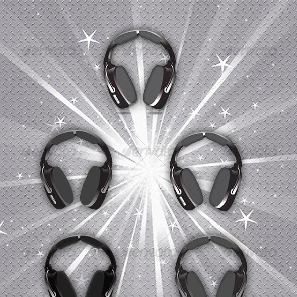 Headphones vector 5 styles music