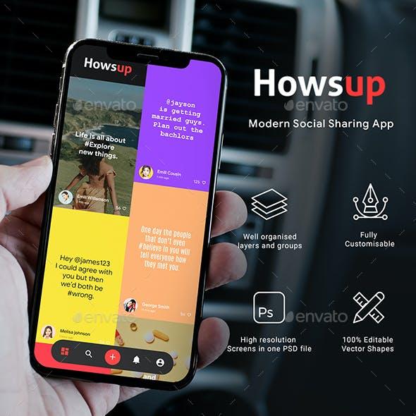 Social Media Sharing App UI Kit | HowsUp