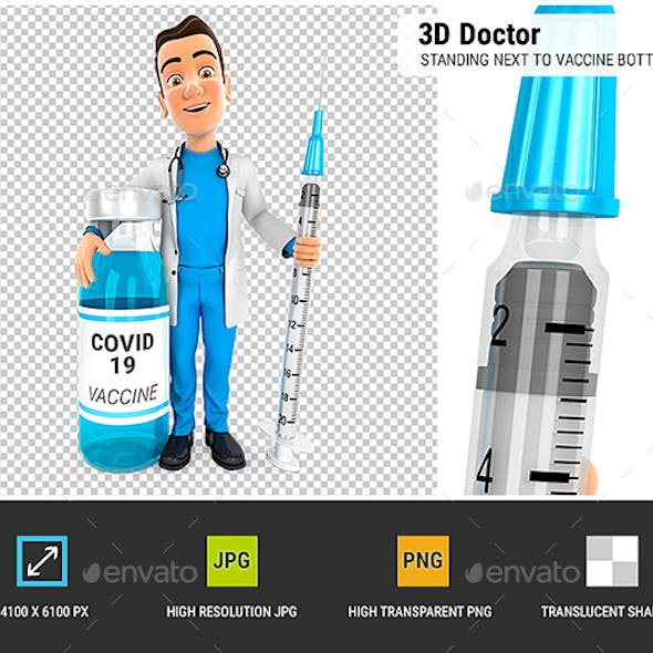 3D Doctor Standing Next to Vaccine Bottle