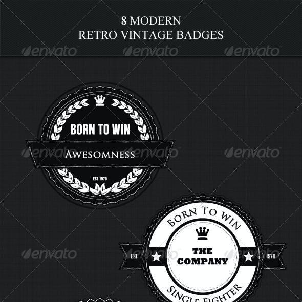 8 Modern Retro Vintage Badges