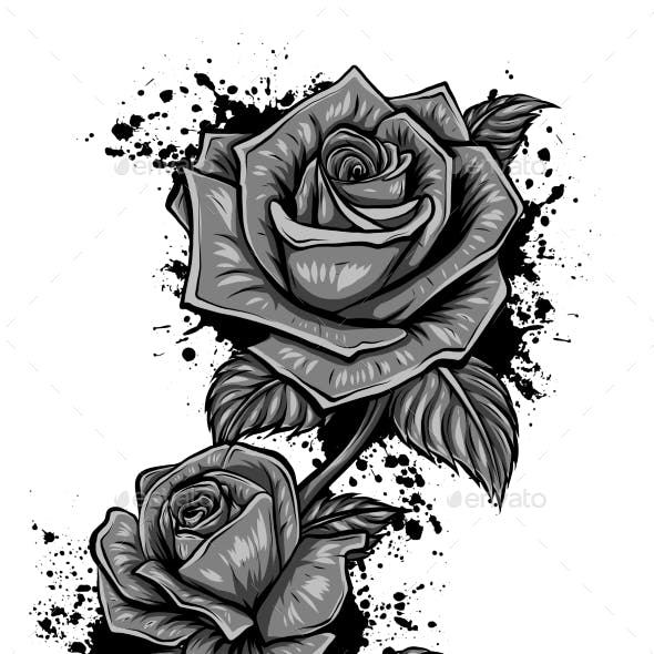 Vector Monochromatic Image of Roses in Retro Style