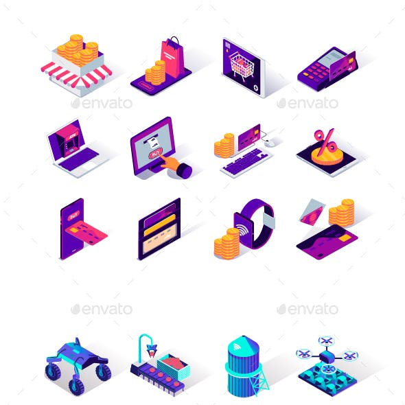 Collection Isometric Icons
