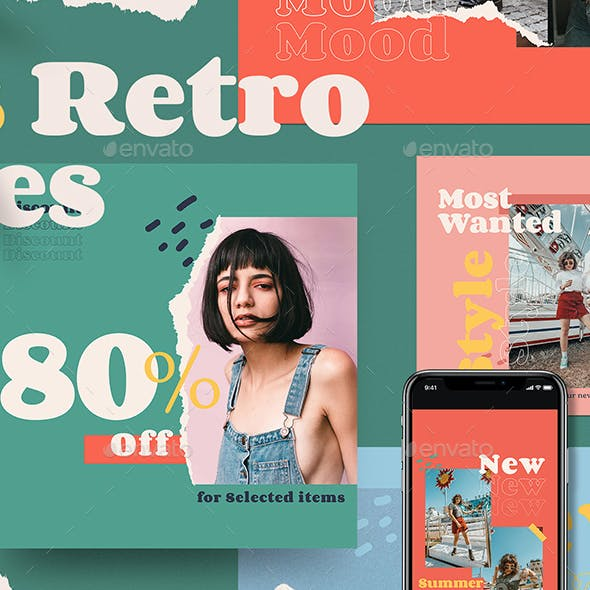 70's Retro Vibes Social Media Pack