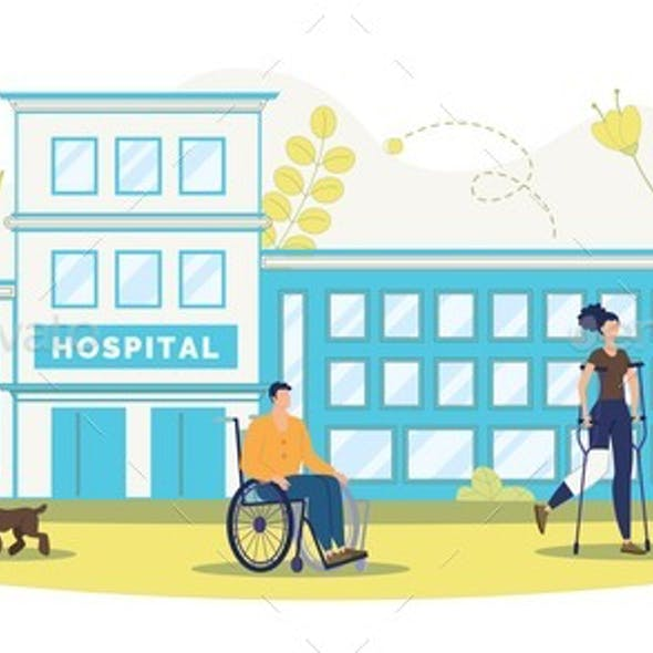 Rehabilitation Center for Disabled People Vector