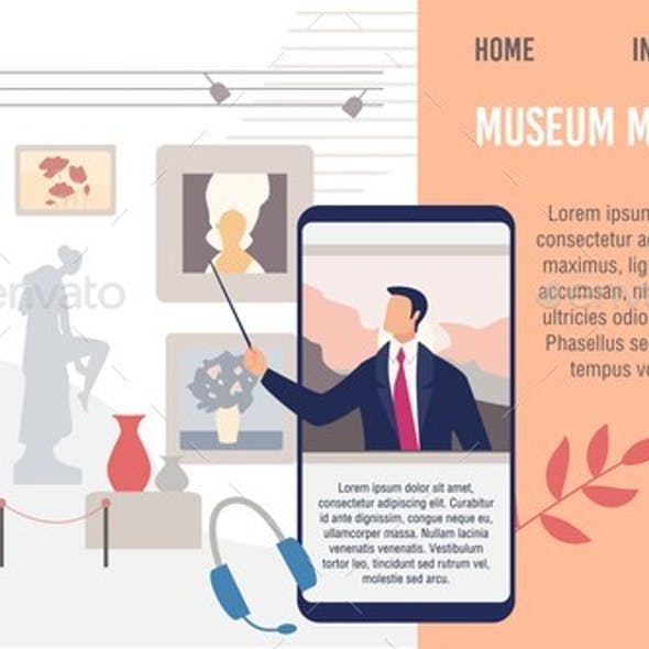 Museum Mobile Guide Flat Vector Landing Page